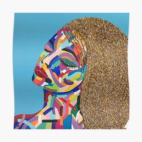 Pop Art woman face colors Fauve Lady 2 rock Poster