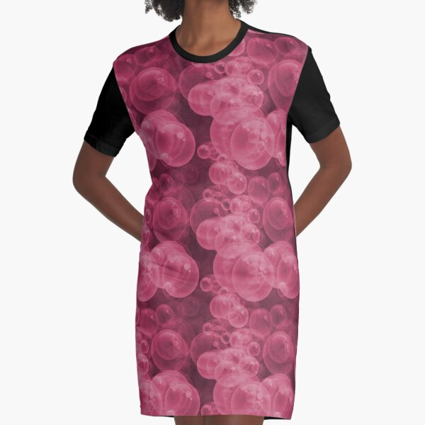 Small Pink Water Air Bubbles Graphic T-Shirt Dress