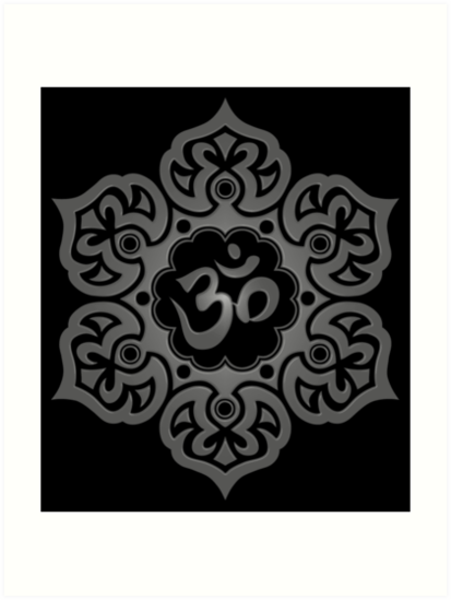"dark lotus flower yoga om"" art prints by jeff bartels  redbubble, Beautiful flower"