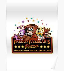Five Nights at Freddy's Freddy Fazbear's Pizza FNAF logo Poster
