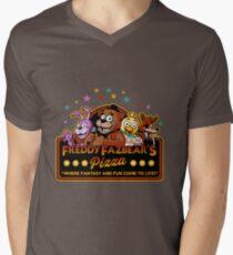 Fünf Nächte in Freddys Freddy Fazbears Pizza FNAF Logo T-Shirt mit V-Ausschnitt für Männer