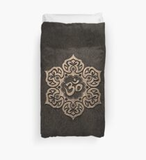 Aged Stone Lotus Flower Yoga Om Duvet Cover