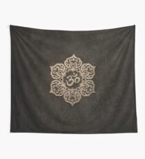 Aged Stone Lotus Flower Yoga Om Wall Tapestry