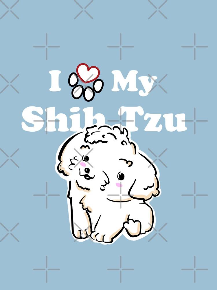 Cute White Shih Tzu Puppy, I Love My Shih Tzu by SubtleSplit