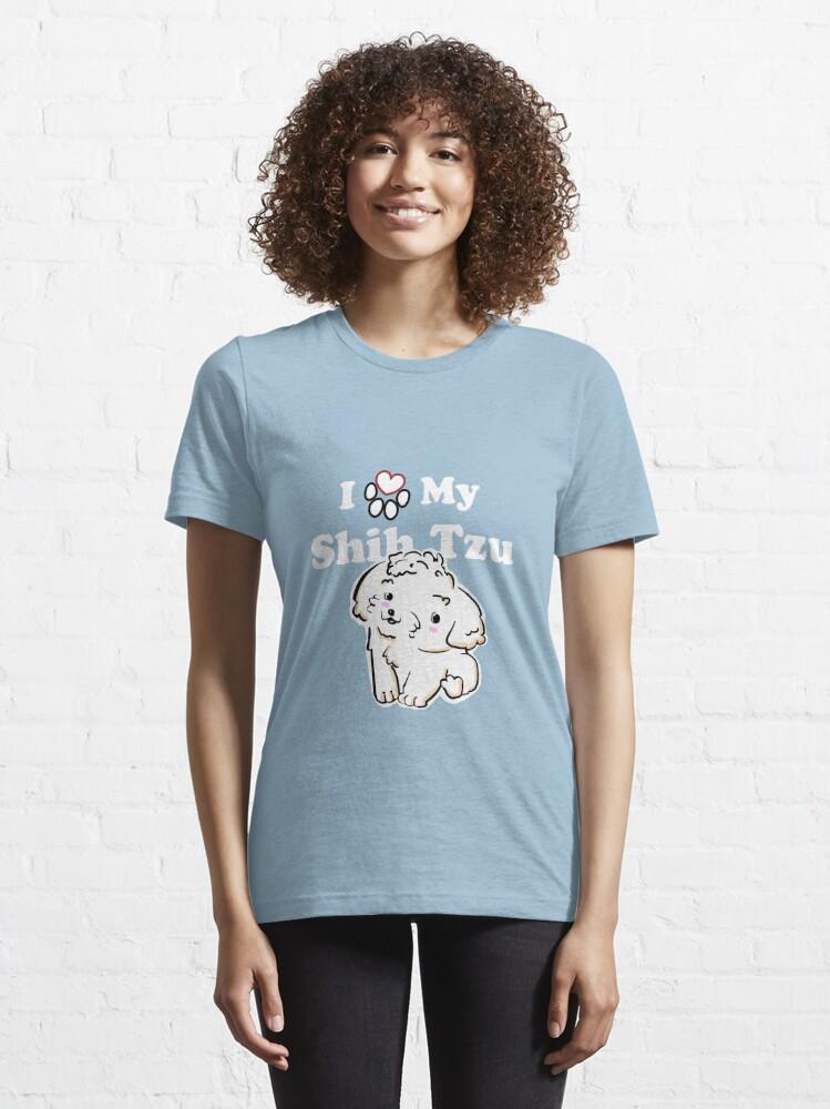 Alternate view of Cute White Shih Tzu Puppy, I Love My Shih Tzu Essential T-Shirt