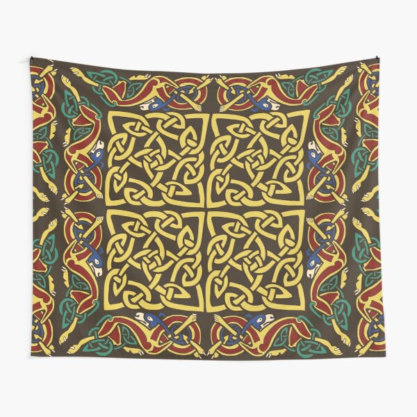 Gold Knotwork Squares and Hounds Border Tapestry