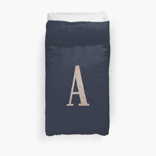 Monogram Burlap Style Initial Letter A in Neutral Hemp Linen Jute on Dark Navy Blue Duvet Cover