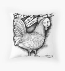 Just being cocky like a rooster. Throw Pillow