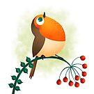 Cute little robin bird by Angela Sbandelli