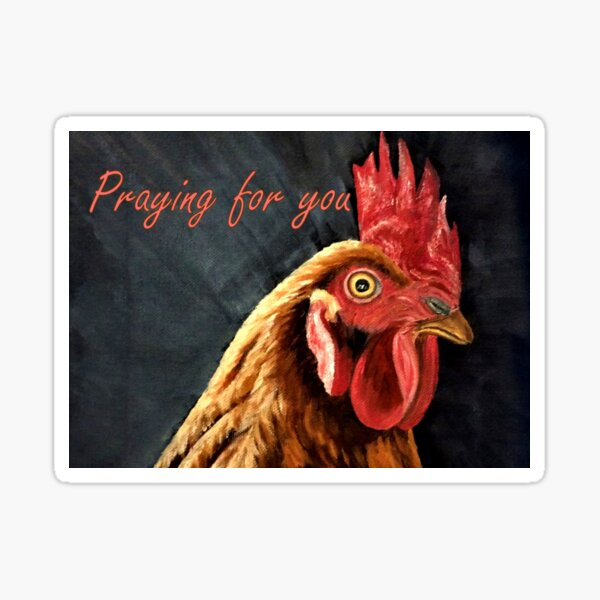 Little Red Hen - Praying for You Card  Sticker