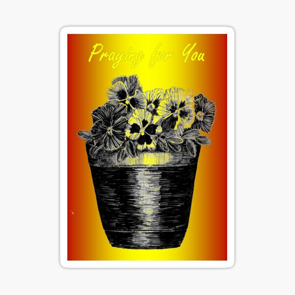 Pansies in a Pot - Praying for You Card  Sticker