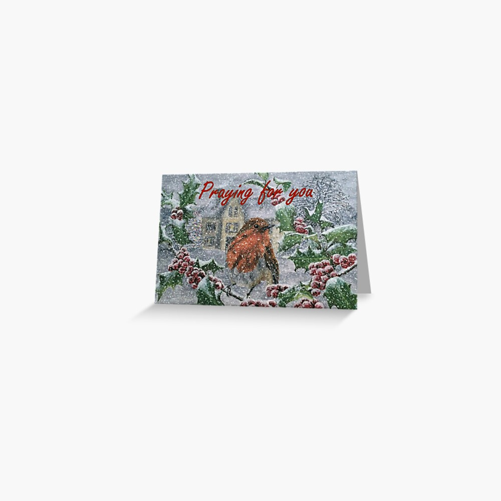 Very Snowy Robin - Praying for You Card  Greeting Card