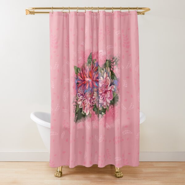 Dahlias flowers pink watercolor pattern Shower Curtain