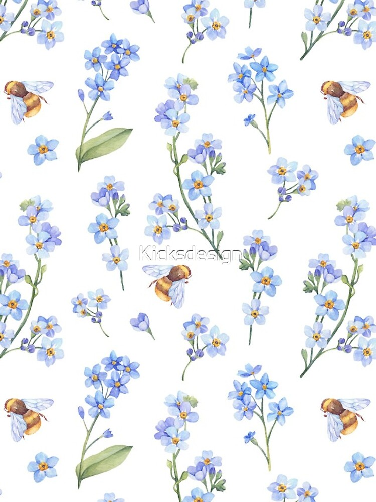 Cute hand painted brown bee lavender watercolor floral by Kicksdesign