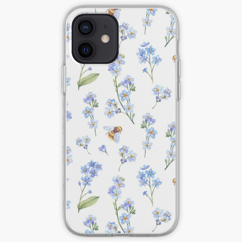 Cute hand painted brown bee lavender watercolor floral iPhone Case & Cover