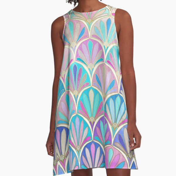 Glamorous Twenties Art Deco Pastel Pattern A-Line Dress