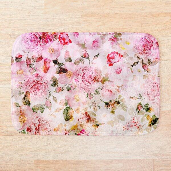 Vintage pink pastel watercolor floral pattern Bath Mat