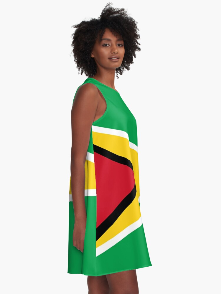 Alternate view of Guyana Flag T-Shirt - Guyanese Sticker A-Line Dress