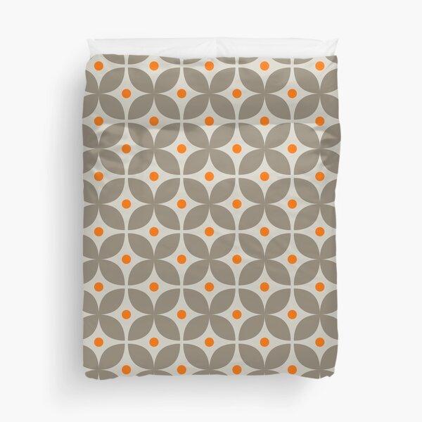 Geometric Pattern: Stylised Flower: Grey Duvet Cover
