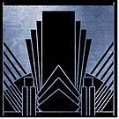 Indigoblauer Art Deco-Entwurf von peggieprints