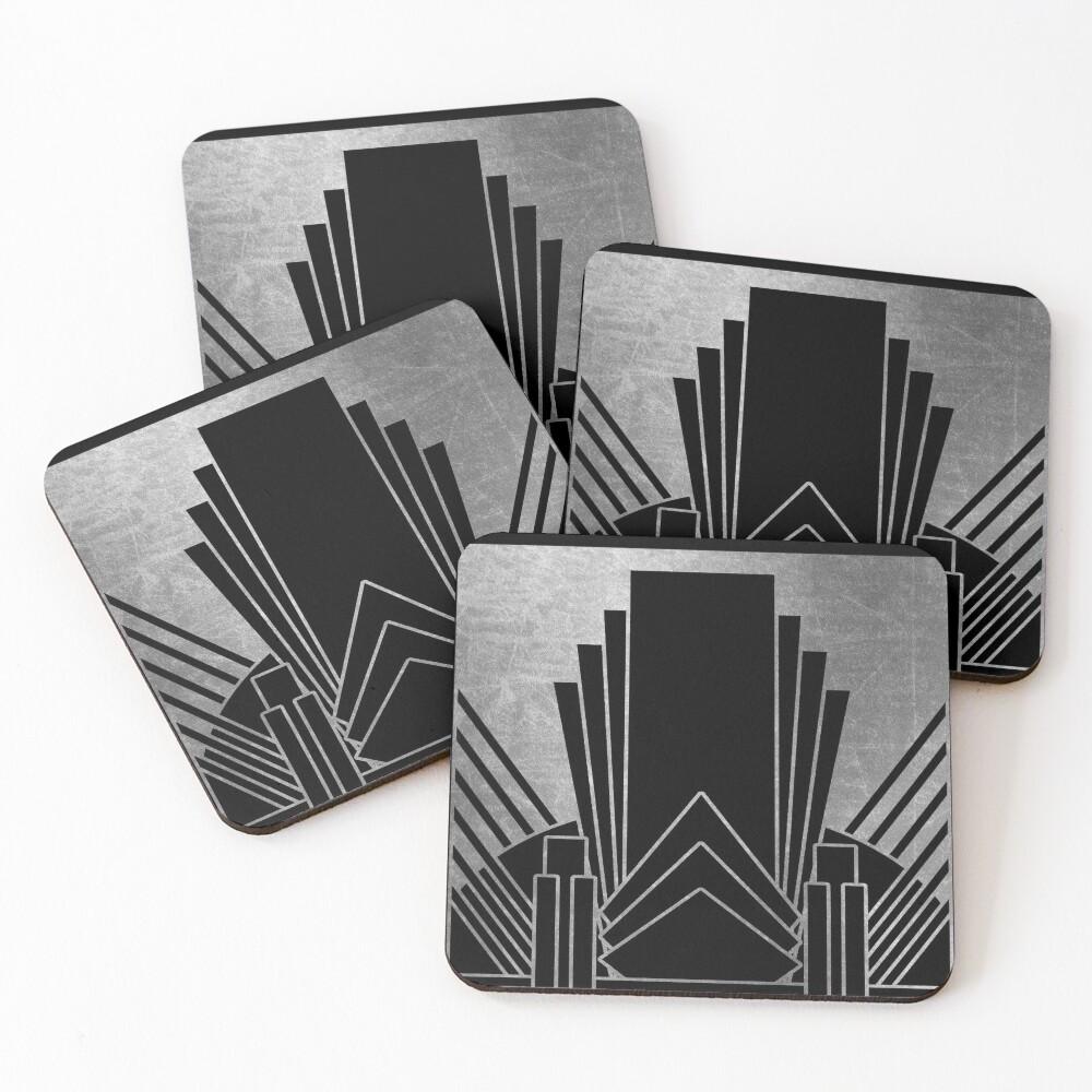 Silver art deco design Coasters (Set of 4)