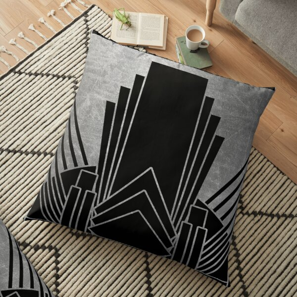 Silver art deco design Floor Pillow