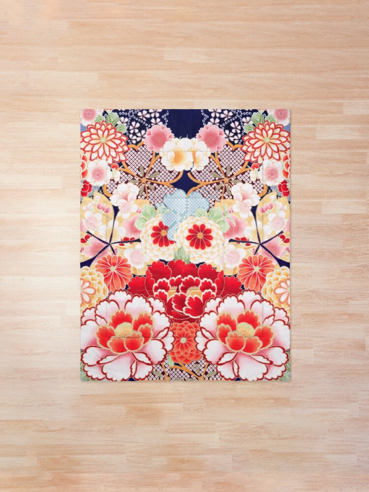Alternate view of ANTIQUE JAPANESE FLOWERS Pink White Wild Roses Kimono Style Floral Comforter