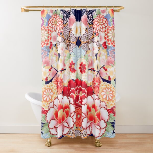 ANTIQUE JAPANESE FLOWERS Pink White Wild Roses Kimono Style Floral Shower Curtain