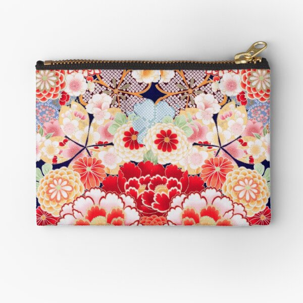 ANTIQUE JAPANESE FLOWERS Pink White Wild Roses Kimono Style Floral Zipper Pouch
