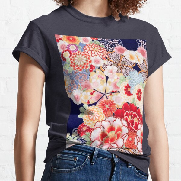 ANTIQUE JAPANESE FLOWERS Pink White Wild Roses Kimono Style Floral Classic T-Shirt