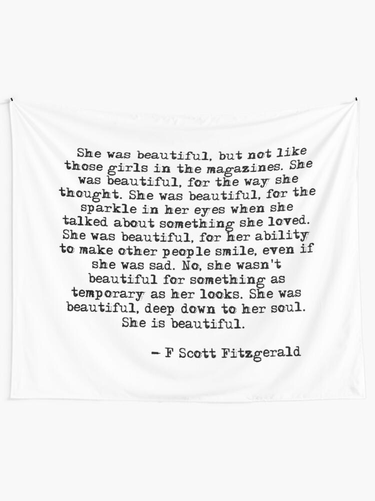 Alternate view of She was beautiful - F Scott Fitzgerald Tapestry