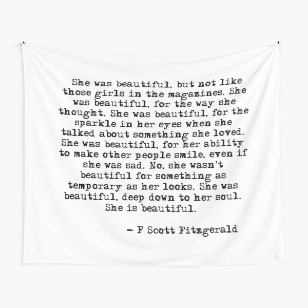 She was beautiful - F Scott Fitzgerald Tapestry