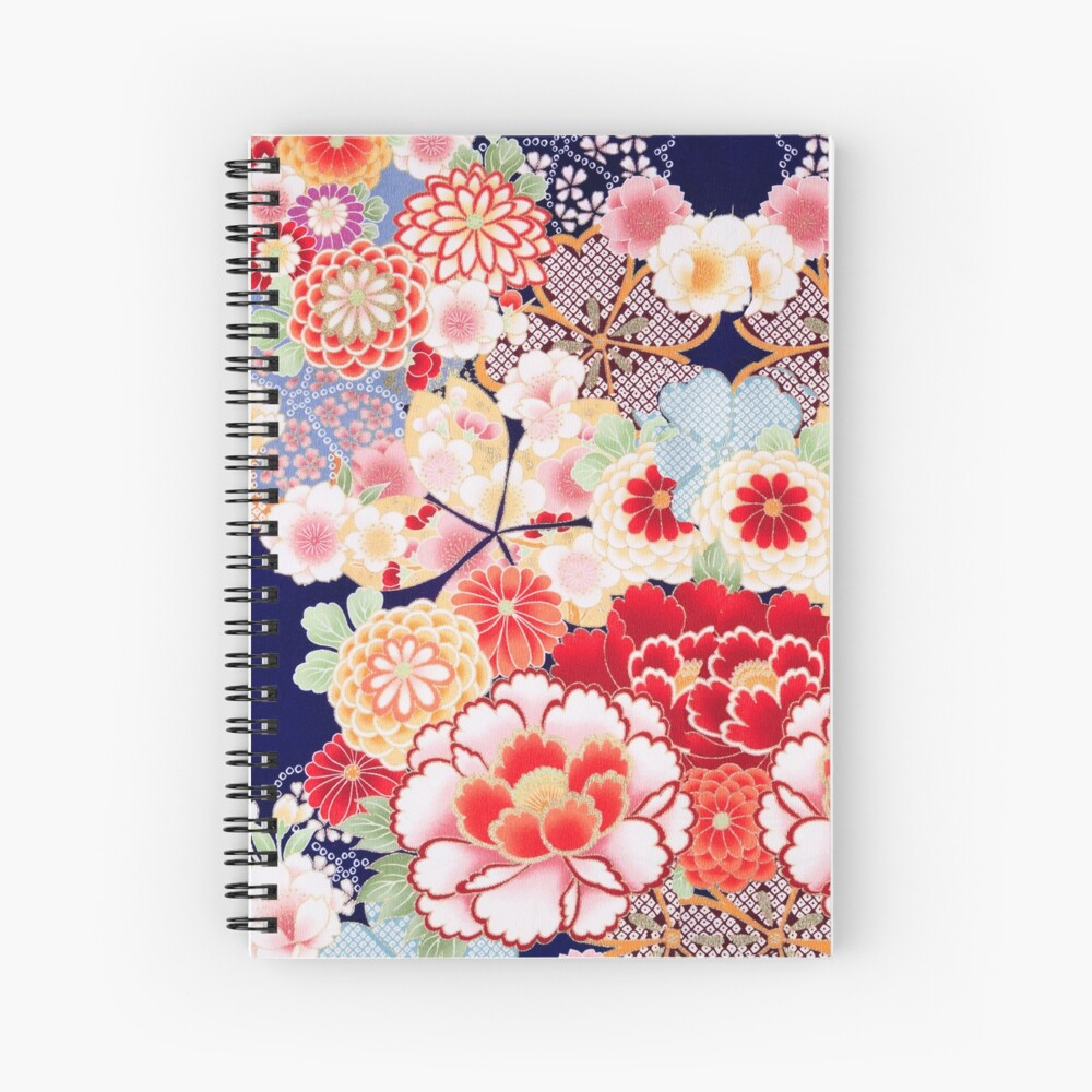 ANTIQUE JAPANESE FLOWERS Pink White Wild Roses Kimono Style Floral Spiral Notebook