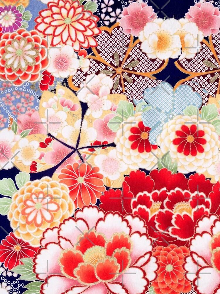 ANTIQUE JAPANESE FLOWERS Pink White Wild Roses Kimono Style Floral by BulganLumini