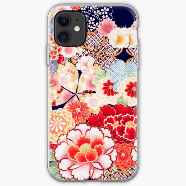ANTIQUE JAPANESE FLOWERS Pink White Wild Roses Kimono Style Floral iPhone Soft Case
