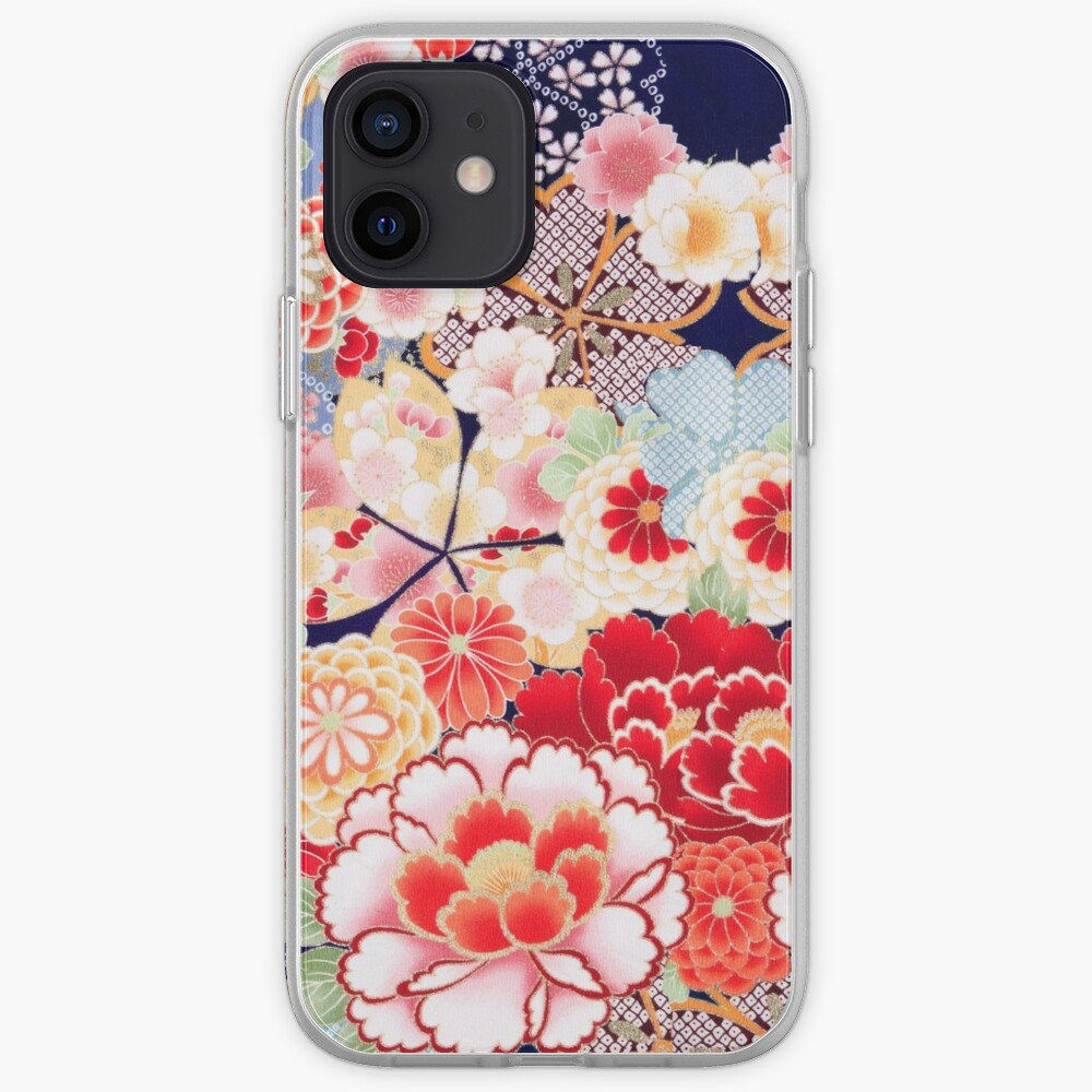 ANTIQUE JAPANESE FLOWERS Pink White Wild Roses Kimono Style Floral iPhone Case & Cover