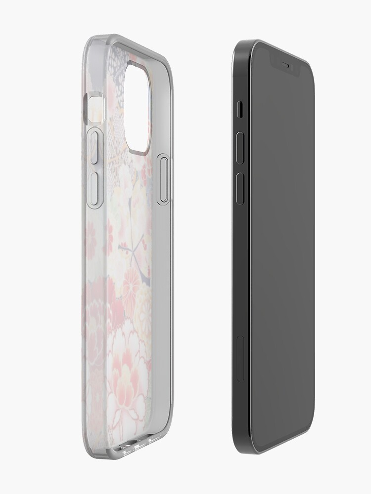 Alternate view of ANTIQUE JAPANESE FLOWERS Pink White Wild Roses Kimono Style Floral iPhone Case & Cover