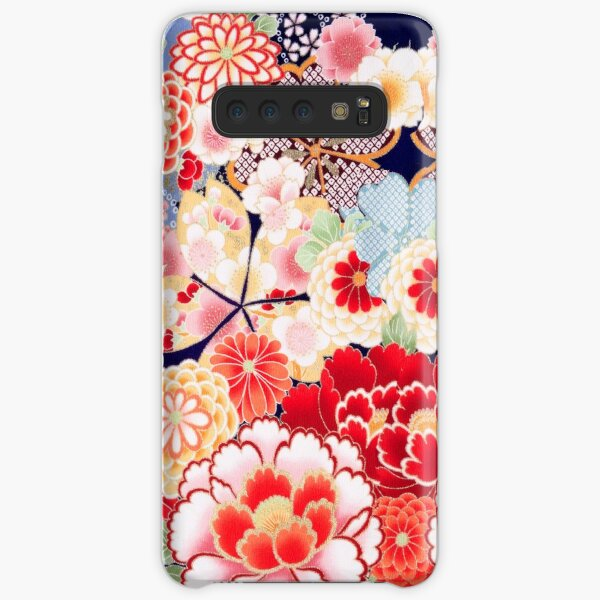 ANTIQUE JAPANESE FLOWERS Pink White Wild Roses Kimono Style Floral Samsung Galaxy Snap Case