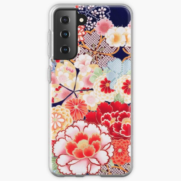 ANTIQUE JAPANESE FLOWERS Pink White Wild Roses Kimono Style Floral Samsung Galaxy Soft Case