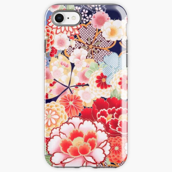 ANTIQUE JAPANESE FLOWERS Pink White Wild Roses Kimono Style Floral iPhone Tough Case