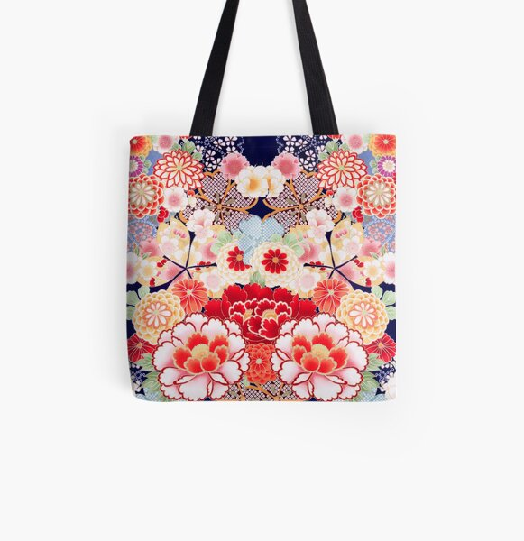ANTIQUE JAPANESE FLOWERS Pink White Wild Roses Kimono Style Floral All Over Print Tote Bag