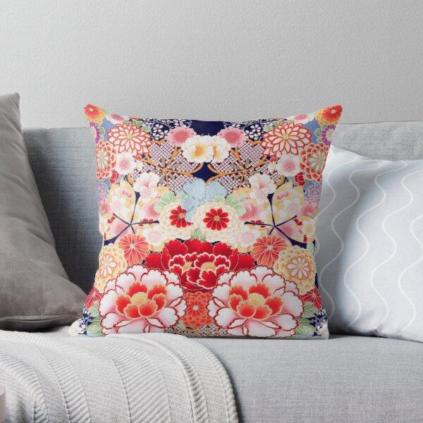 ANTIQUE JAPANESE FLOWERS Pink White Wild Roses Kimono Style Floral Throw Pillow