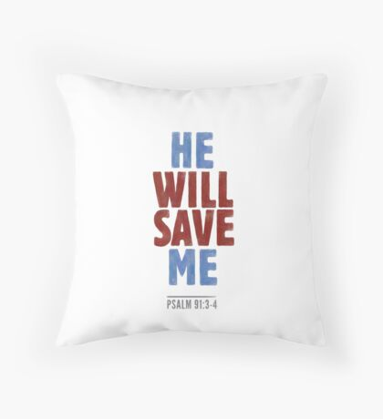 He will save me - Psalm 91:3-4 Floor Pillow
