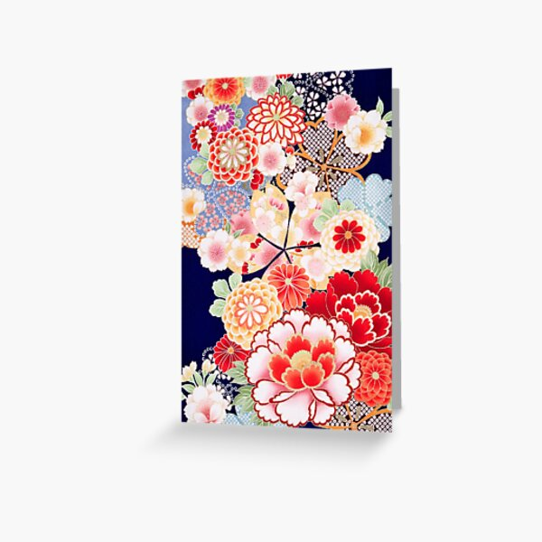 ANTIQUE JAPANESE FLOWERS Pink White Wild Roses Kimono Style Floral Greeting Card