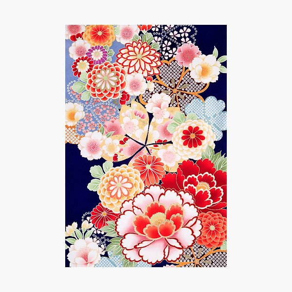 ANTIQUE JAPANESE FLOWERS Pink White Wild Roses Kimono Style Floral Photographic Print