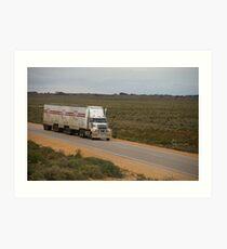 Roadtrain on Eyre Hwy, South Australia Art Print