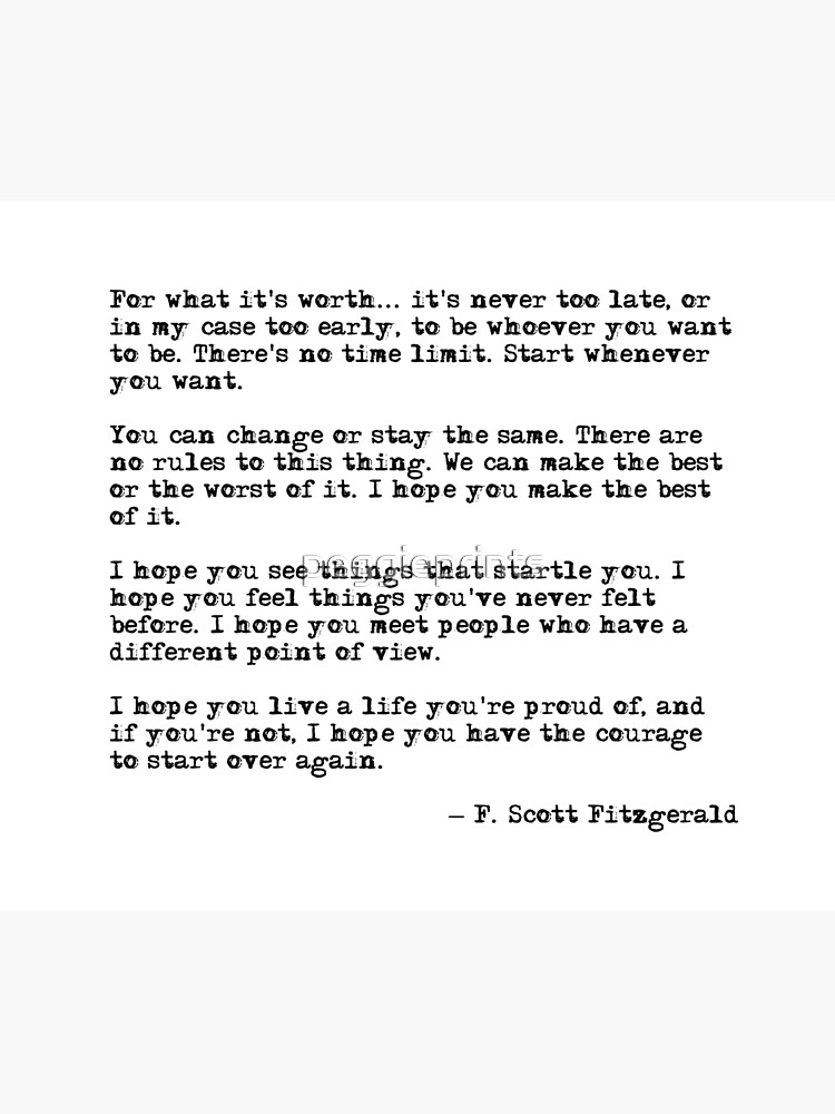 For what it's worth - F Scott Fitzgerald quote by peggieprints