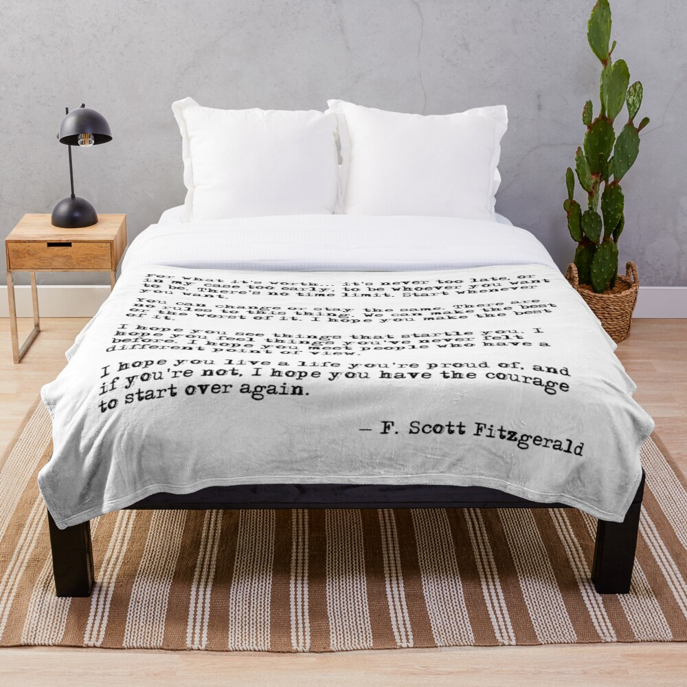 For what it's worth - F Scott Fitzgerald quote Throw Blanket