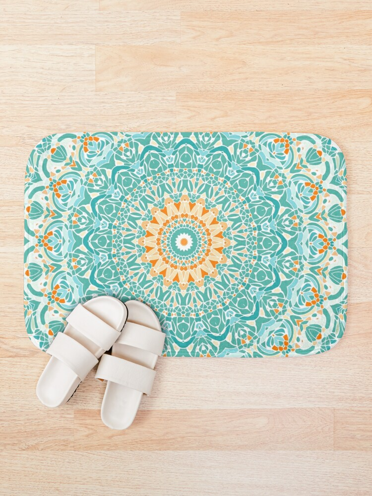 Alternate view of Orange and Turquoise Clarity Mandala Bath Mat