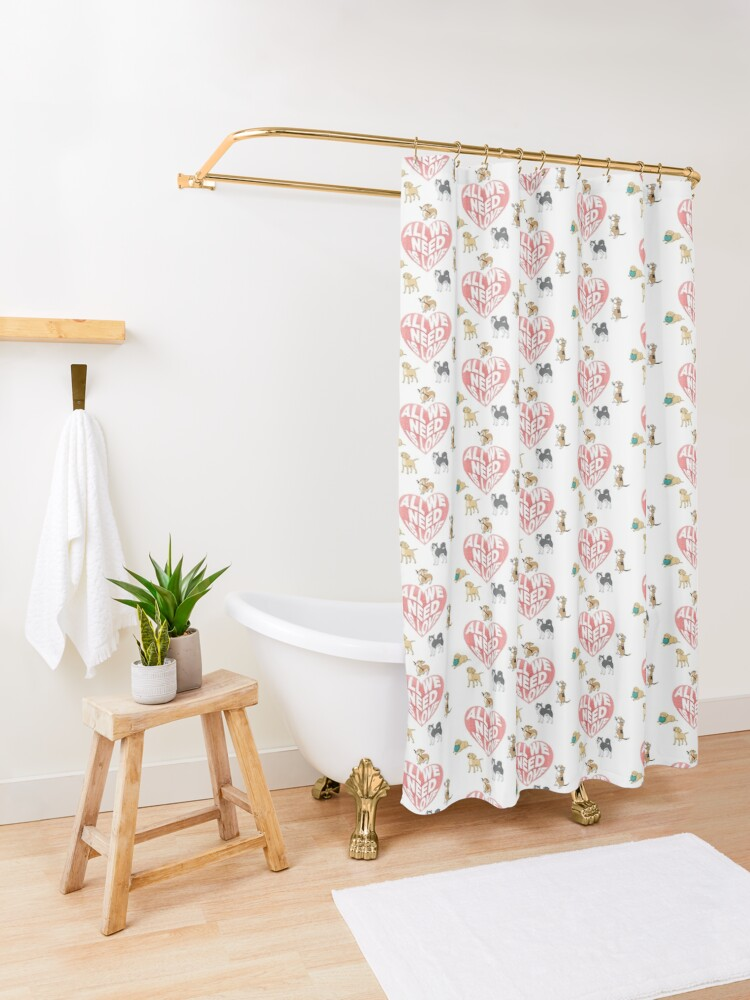 Alternate view of All We Need is Love Dogs Shower Curtain